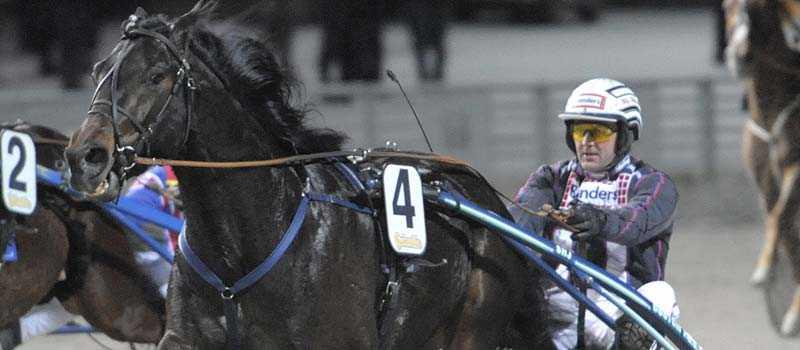 Big Nevada och Ulf Ohlsson på väg mot seger i V64-2. Det var Ohlssons andra seger för kvällen med en Stig H Johansson-tränad häst.