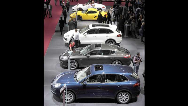 Porsche-parad i Paris-montern. Foto: Scanpix