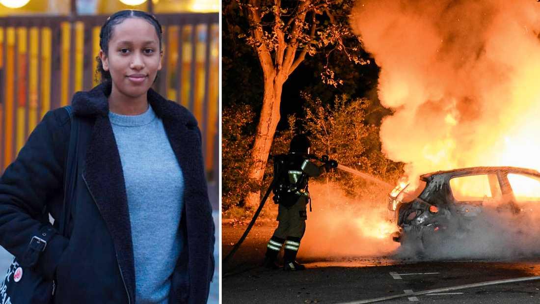 Armana Masfun är trött på den bild av förorten som målas upp i medierna – som bilder av utbrända bilar.