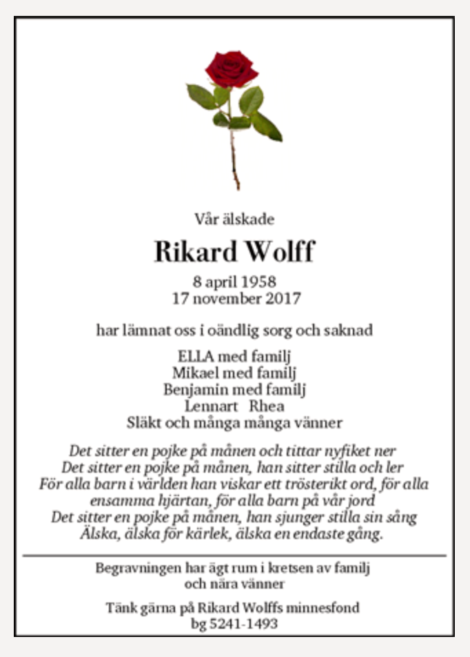 Rikard Wolffs dödsannons publicerades den 3 december.
