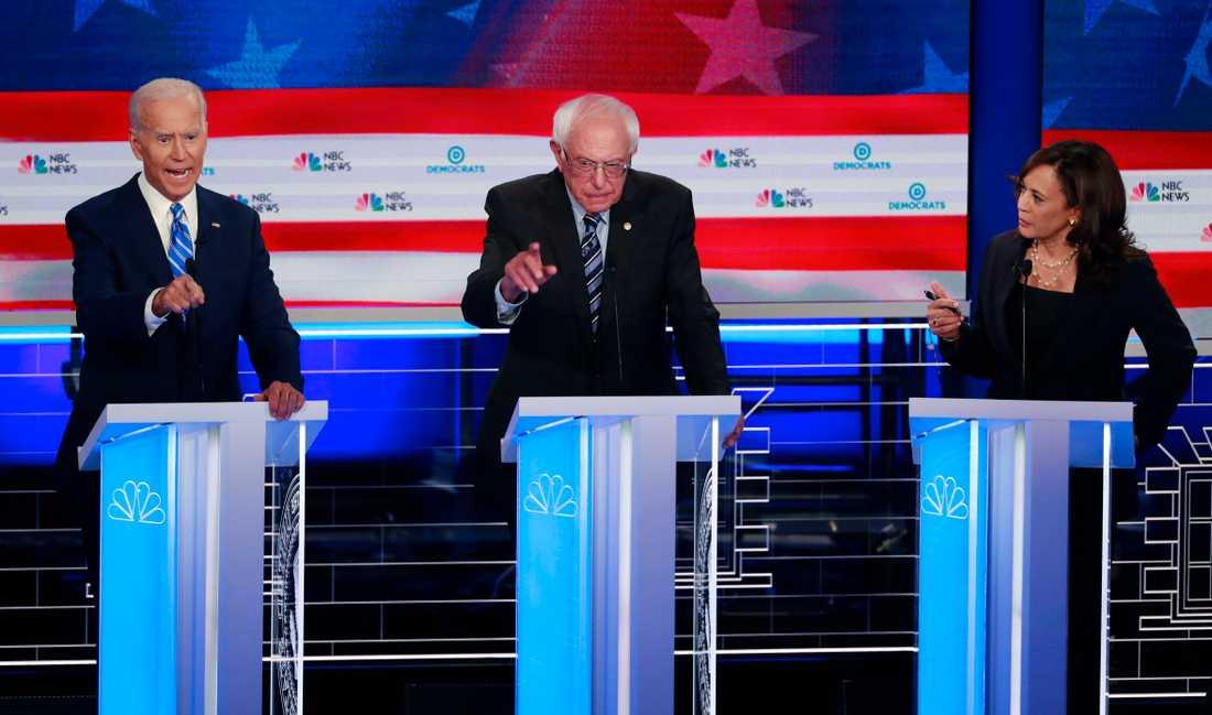 Den tidigare vicepresidenten Joe Biden, Vermontsenatorn Bernie Sanders och Kaliforniensenatorn Kamala Harris siktar alla på Demokraternas nominering inför nästa års presidentval.