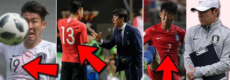 Sydkoreas storstjärna Son Heung Min i tre olika tröjnummer.