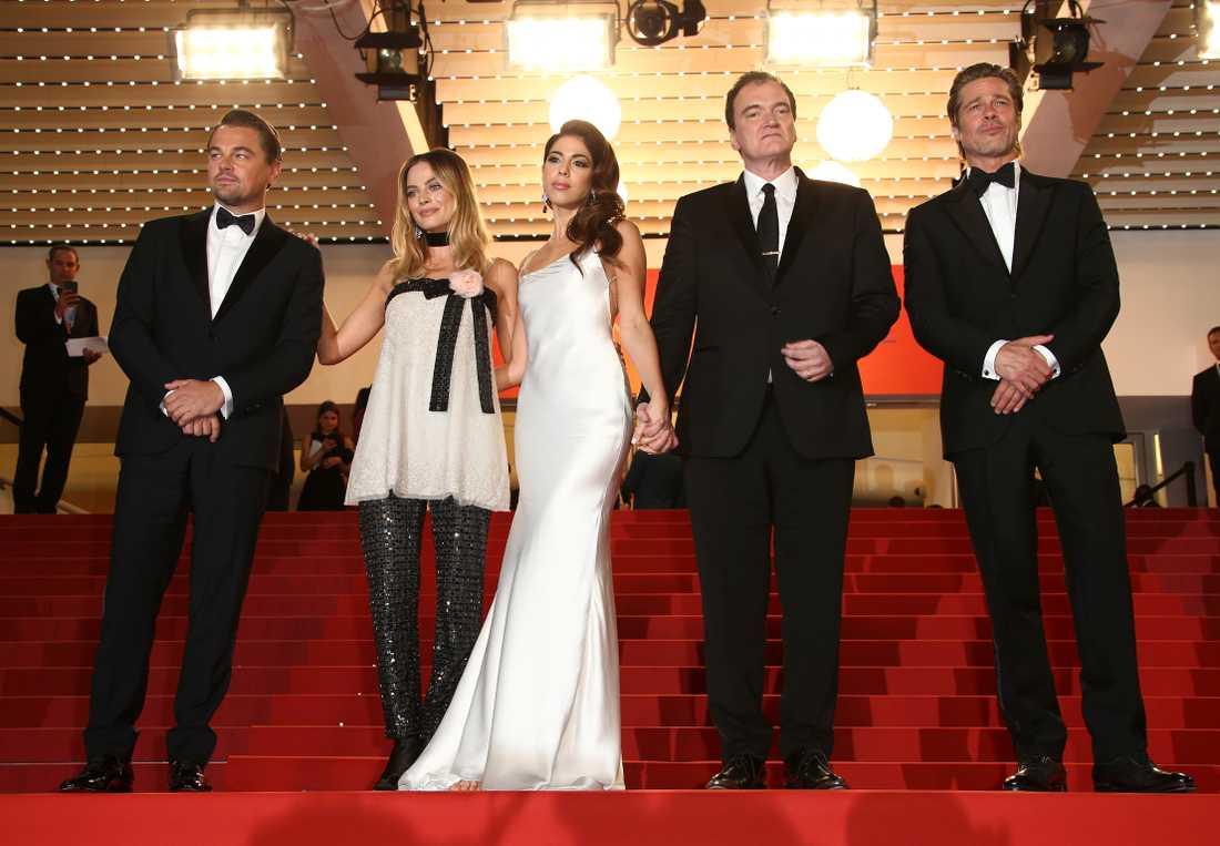 Leonardo DiCaprio, Margot Robbie, Daniella Pick, Quentin Tarantino och Brad Pitt på filmfestivalen i Cannes.