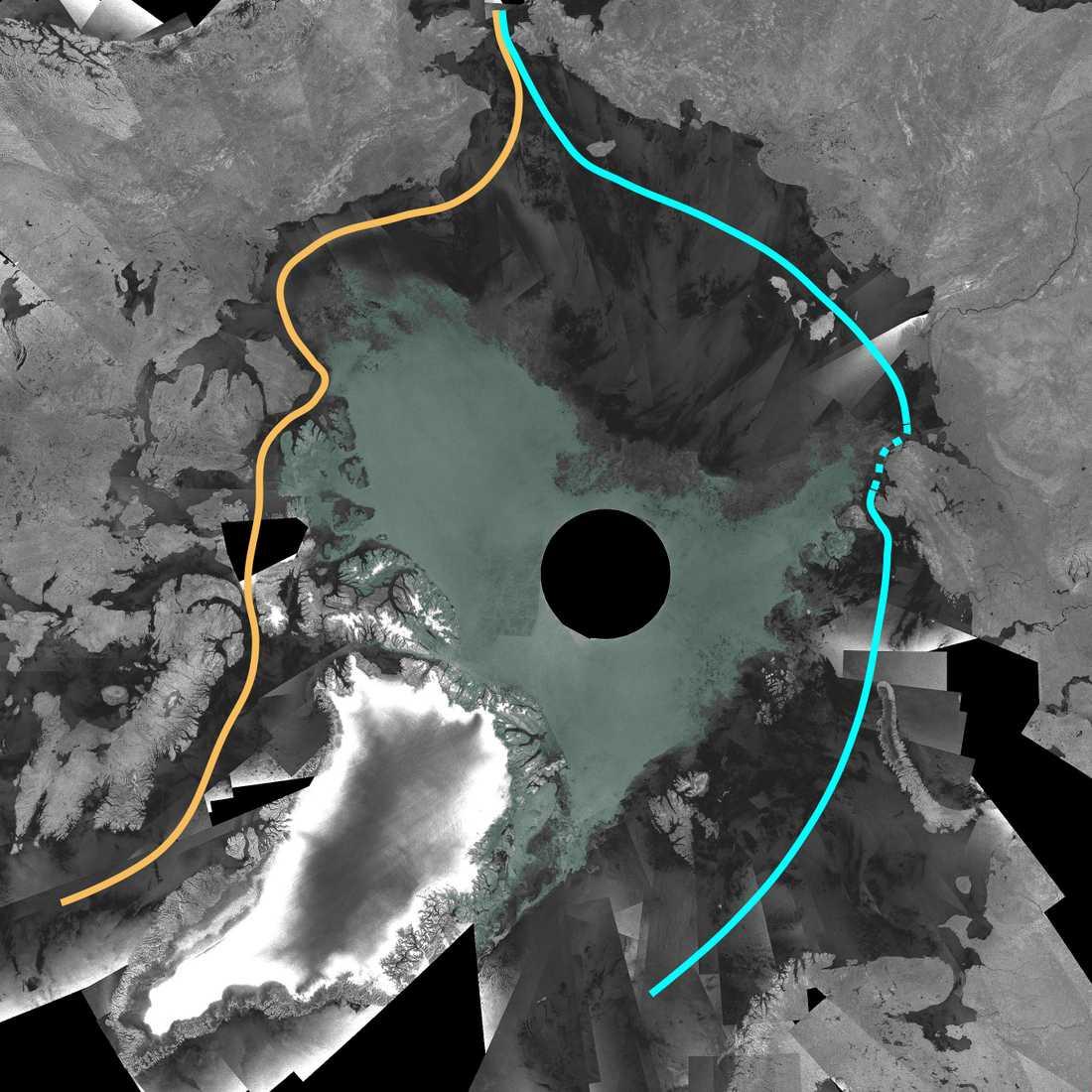 SJÖVÄGEN GENOM ARKTIS ÖPPEN De nya satellitbilderna visar att den tidigare stängda sjövägen genom Arktis nu blivit framkomlig. Den gula markeringen visar Nordvästpassagen norr om Kanada som nu är helt farbar. Den blå markeringen visar Nordostpassagen norr om Ryssland där det streckade området fortfarande är spärrad av is.