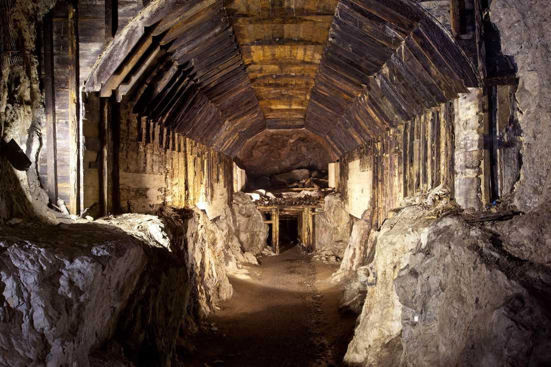 En del av tunnelsystemet som nazisterna började bygga under kriget.