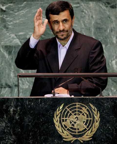 Irans president Mahmoud Ahmadinejad under ett tal i FN:s generalförsamling.