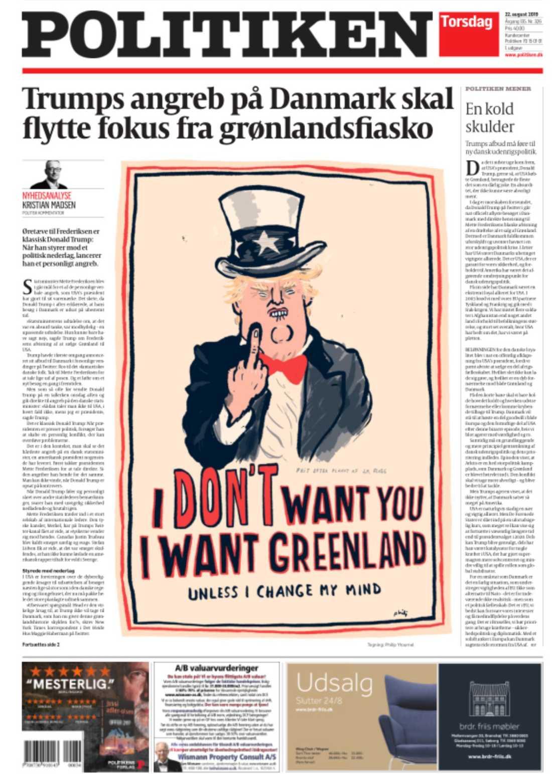 Tidningen Politikens förstasida.