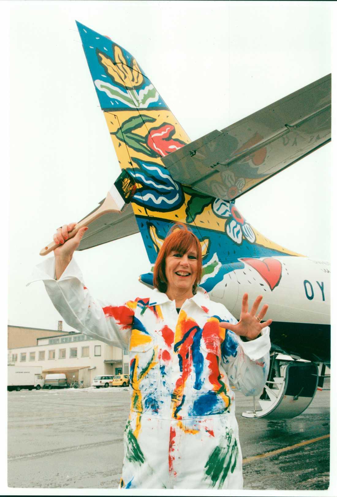 1995 målade Hydman Vallien ett flygplan från Brittish airways.