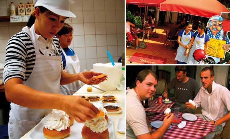 Konditorn Bang har jobbat på Scandinavian Bakery r i tio år. Hennes kollegor Duane och Aunl (uppe till höger) har fått lära sig mycket om ett land de tidigare inte kände till. Tobias Hulthén, Petter Georgsson och Petter Forsang hörde talas om kaféet från kompisar.