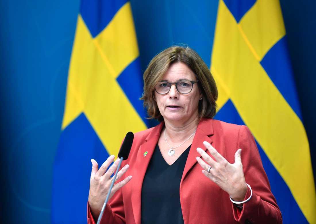 Miljö- och klimatminister Isabella Lövin meddelar att Sverige bidrar med 100 miljoner kronor per år 2020–2022 till en ny fond som ska hjälpa utvecklingsländer att ställa om sin tunga industri. Arkivbild.