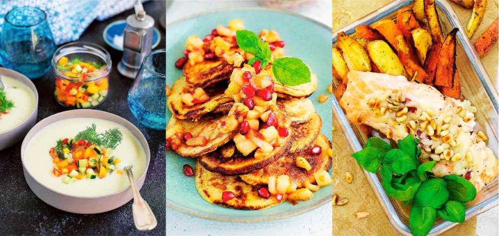 Perfekt i lunchlådan. Blomkålssoppa, bananpannkakor och lax.
