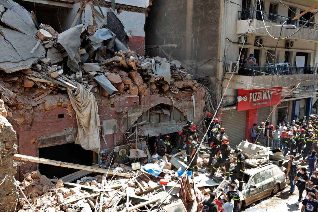 Byggnad i Beirut efter explosionen.