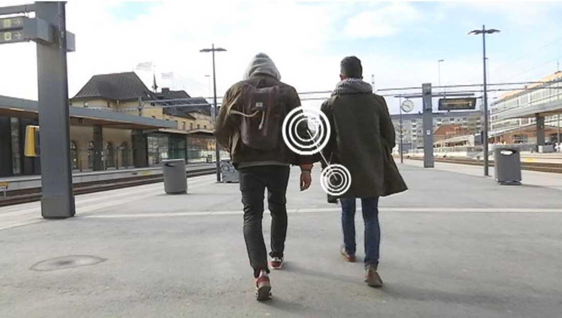 SVT:s team gjorde testerna med sin byggda skanner på Resecentrum i Uppsala.