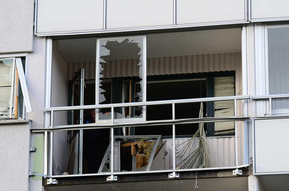 Den explosionsskadade lägenheten.