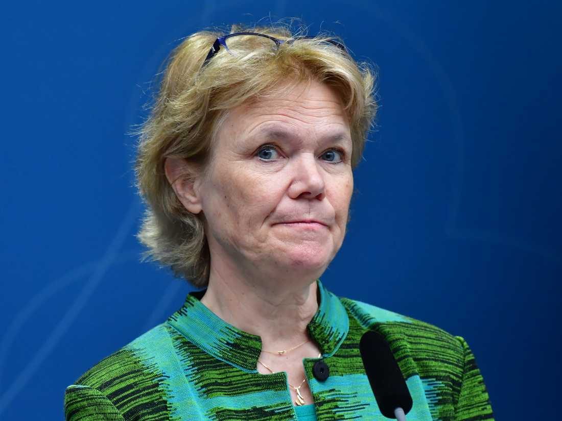 Harriet Wallberg, regeringens nya testkoordinator, pekar på nya grupper som ska börja testas inom kort. Arkivbild.