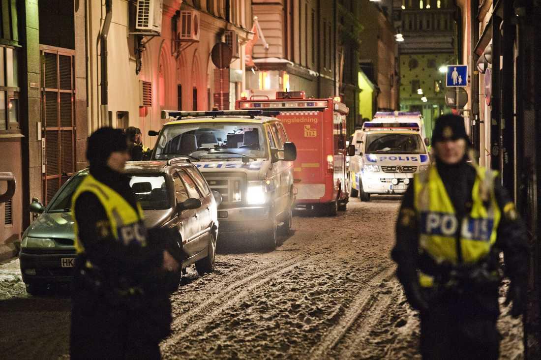 Stort pådrag Under kvällen och natten var det en intensiv polisbevkaning av centrala Stockholm.