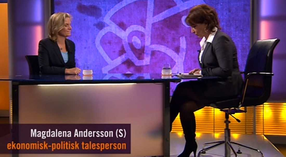 Magdalena Andersson i kvällens Agenda.