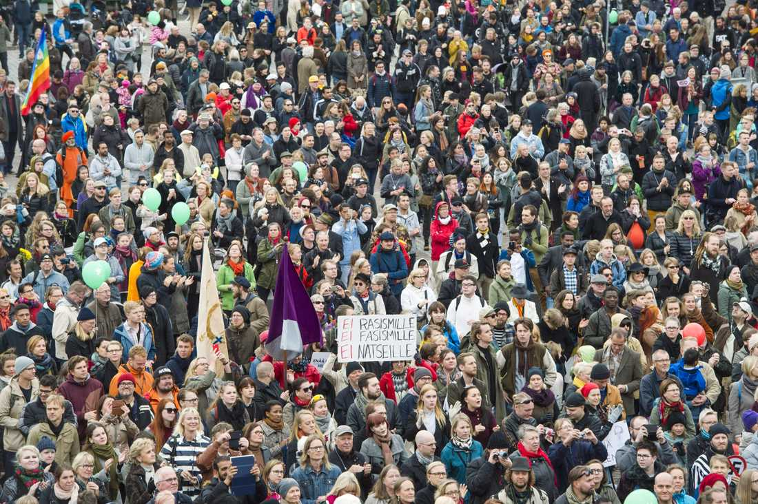 Demonstration mot högerextremism i Finland.