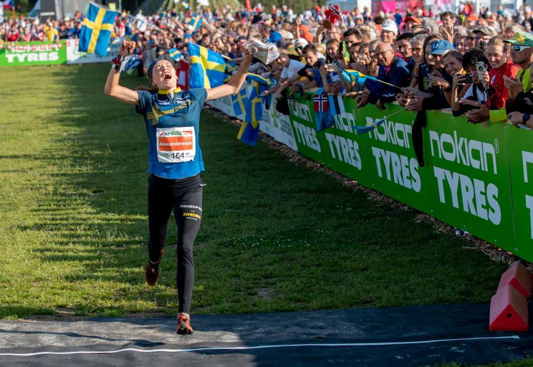 Den svenska stjärnan Tove Alexandersson i VM i Norge i fjol. Arkivbild.