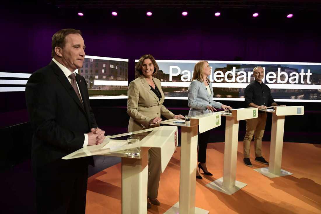 Stefan Löfven (S), Isabella Lövin (MP), Annie Lööf (C) och Jan Björklund (L).