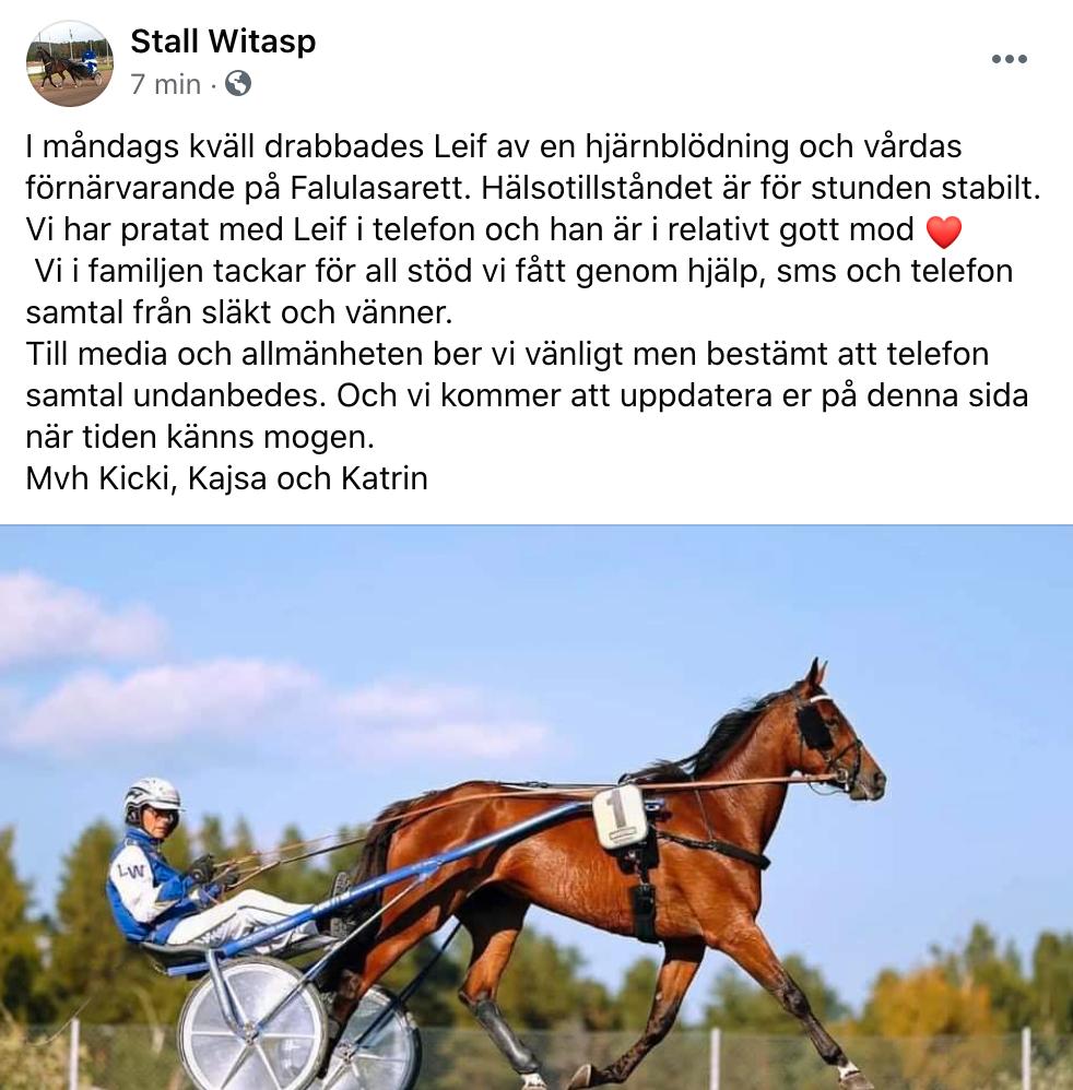 Inlägget på Stall Witasps Facebooksida.