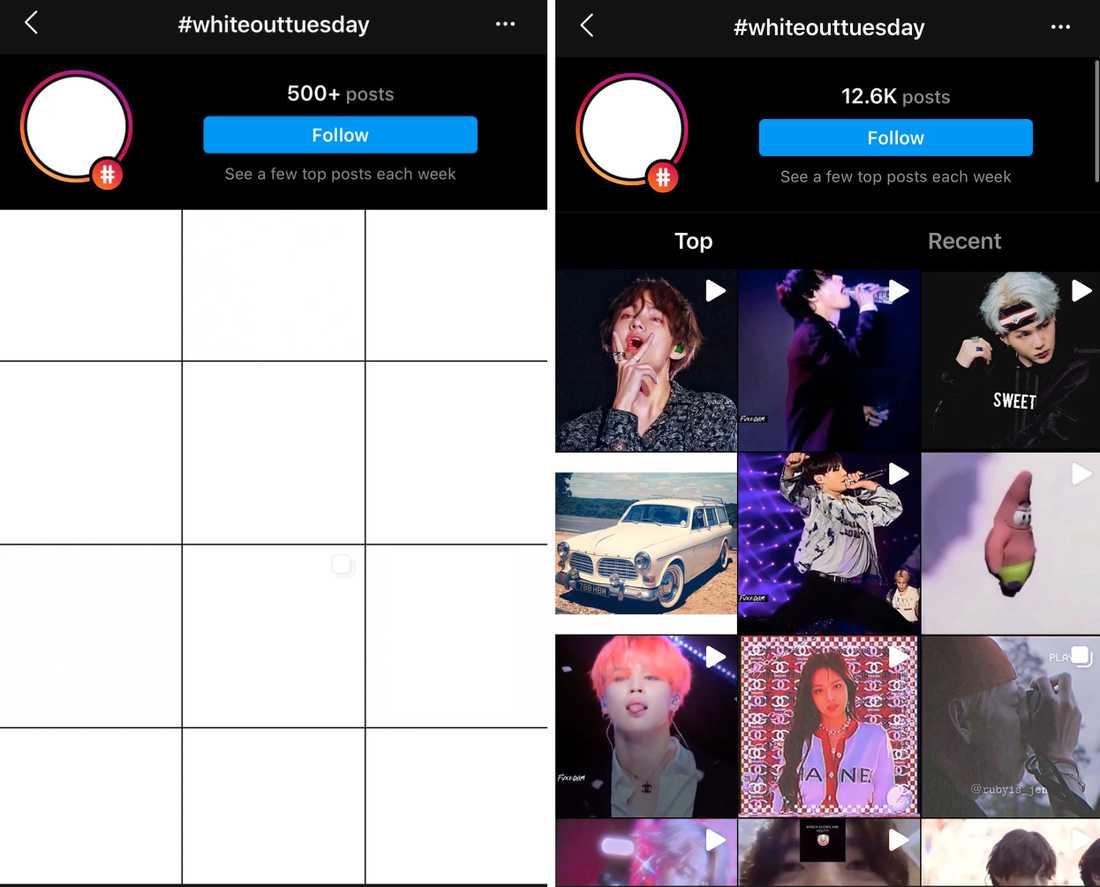 Hashtaggen #Whiteouttuesday på Instagram, ett svar på BLM-rörelsens #blackouttuesday, som det såg ut före och efter K-pop-fansens inblandning i tisdags.