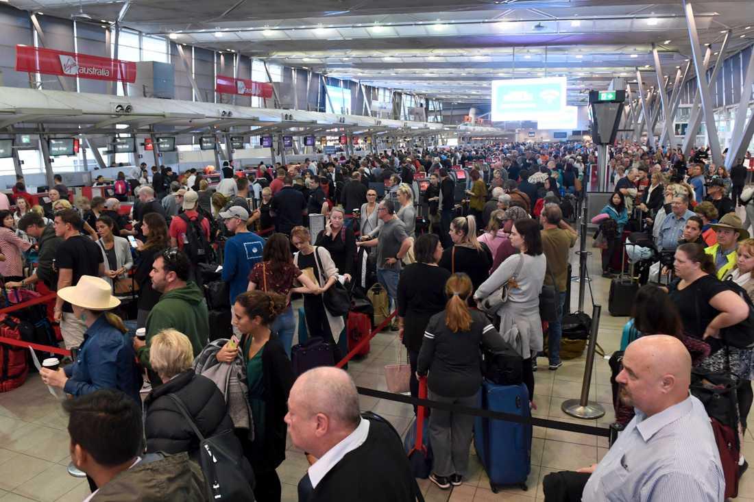 Flygplatsen i Sydney. Australien överväger att stoppa resor från Europa, precis som USA. Arkivbild.