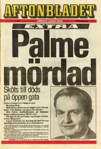 Aftonbladets förstasida den 1 mars 1986.