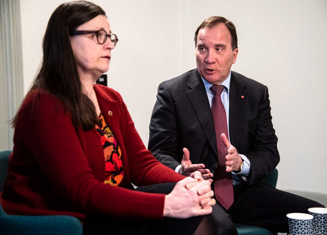 Utbildningsminister Anna Ekström och statsminister Stefan Löfven.