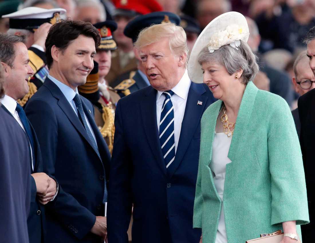 Kanadas premiärminister Justin Trudeau, USA:s president Donald Trump och Storbritanniens premiärminister Theresa May under ceremonin som hålls i Portsmouth med anledning av högtidlighållandet av D-dagen för 75 års sedan.