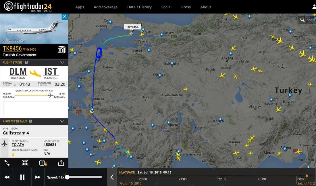 Här är Erdogans resväg under fredagsnatten när kuppförsöket ägde rum. Bilden visar var planet befann sig 02.15 svensk tid.