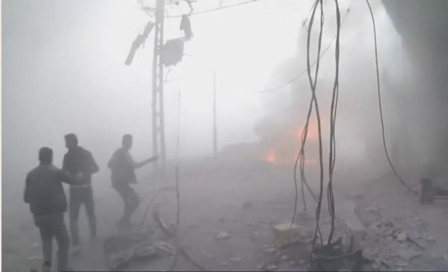 Förödelse i Ghouta efter lördagens misstänkta kemgasattack.