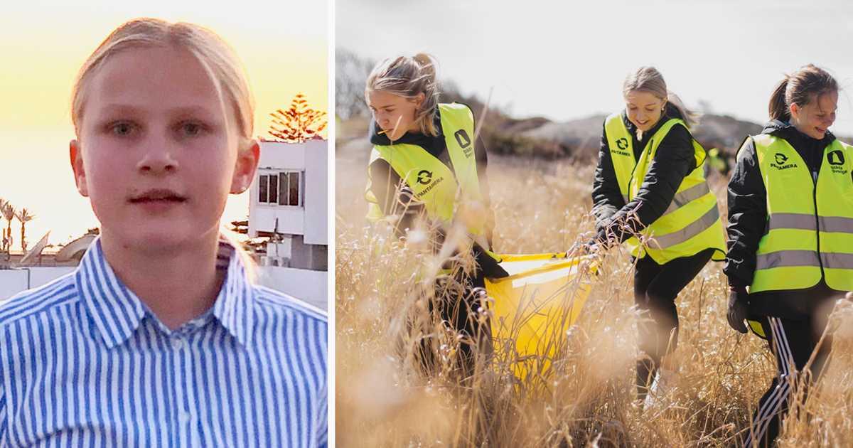 Maja Hallsten, 14, är en av ungdomarna som städar Västkusten inför sommaren.