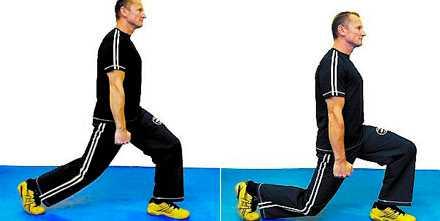 Utfall Stå höft-/axelbrett. Ta ett steg framåt som är lite längre än ett gångsteg. Sänk kroppen rakt neråt så att knät precis bara nuddar golvet. Upprepa 8-12x3 gånger.