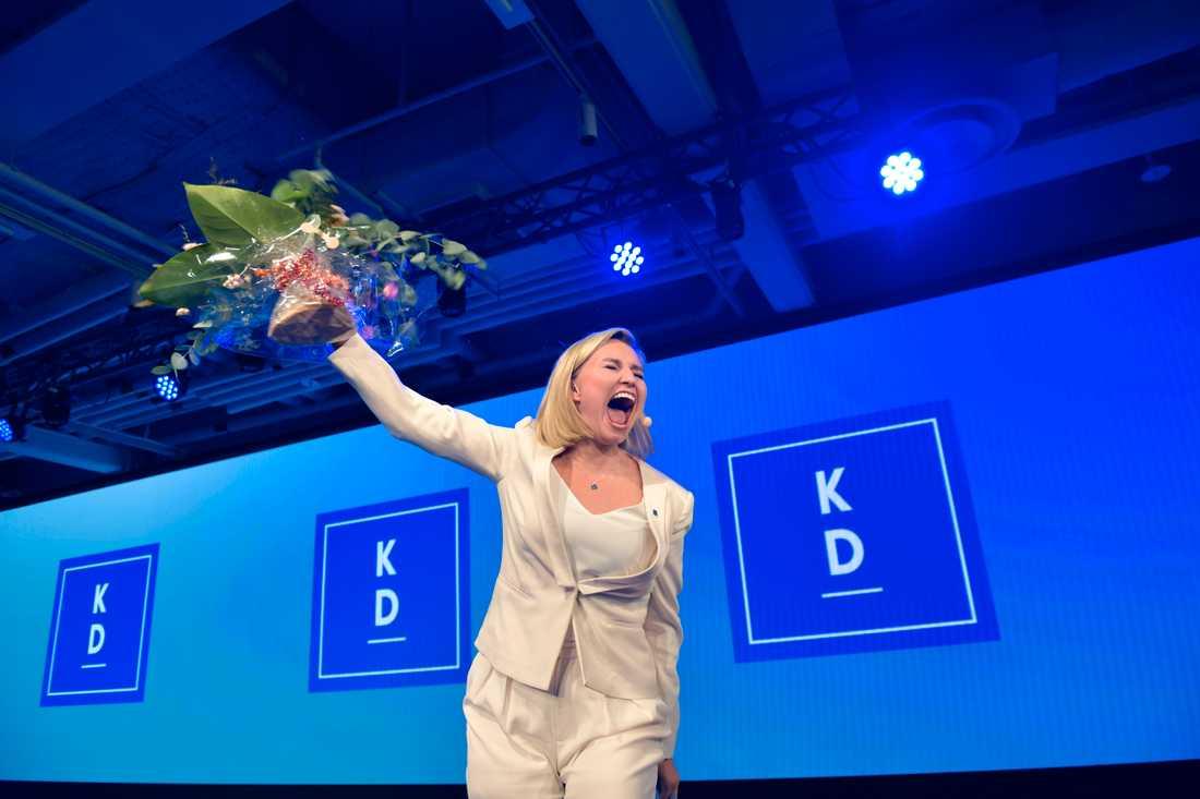 Partiledare Ebba Busch Thor på Kristdemokraternas valvaka på At Six i Stockholm.