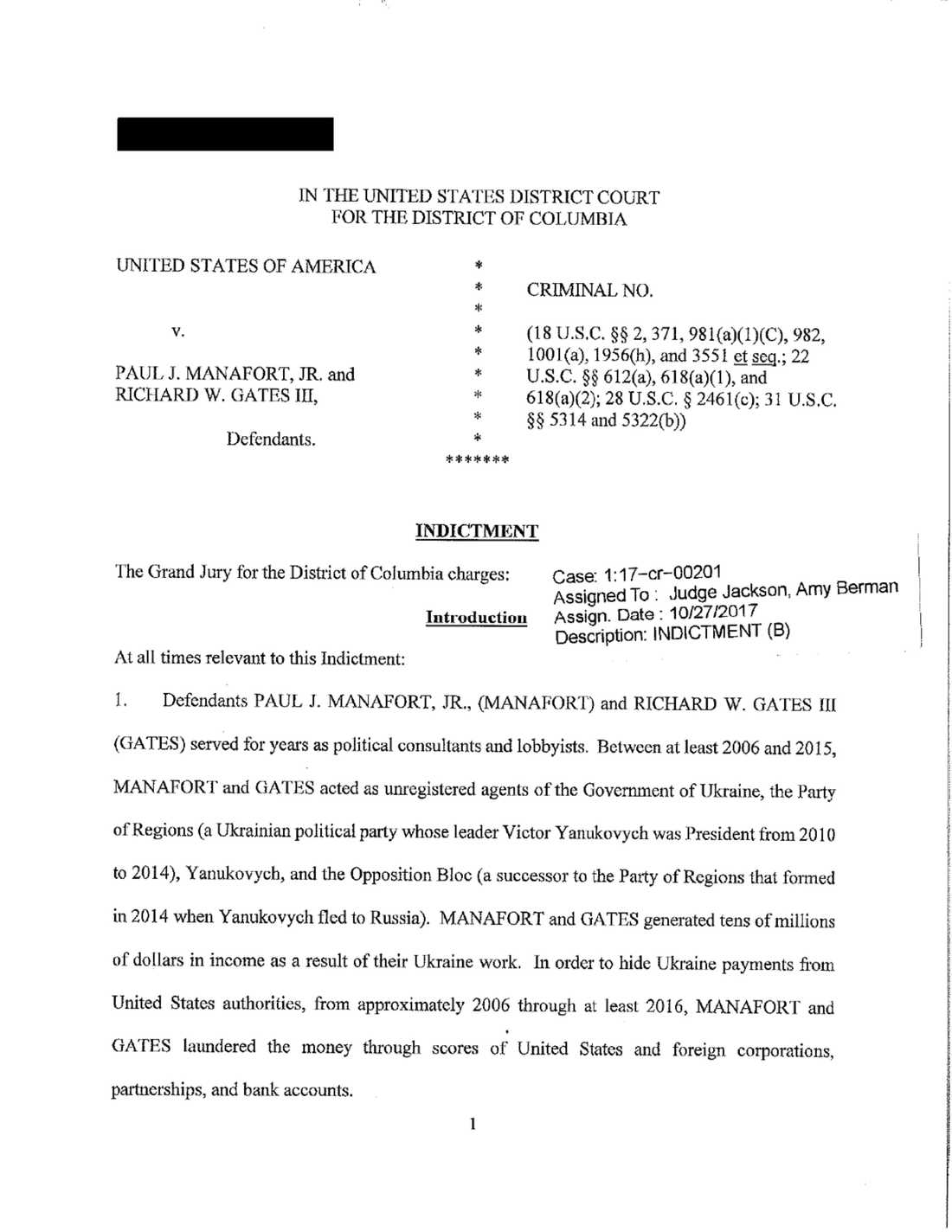 Första sidan (av 18) i åtalet mot Manafort och Gates