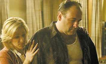 Edie Falco och James Gandolfini.
