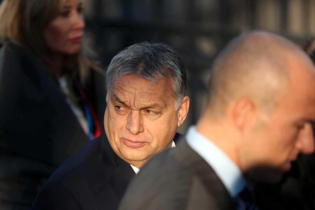 Ungerns premiärminister Viktor Orbán stängdes av från arbetet i EU-gruppen EPP i mars i år. Arkivbild.