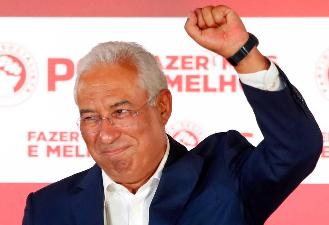 Portugals premiärminister António Costa på sitt parti PS valvaka.