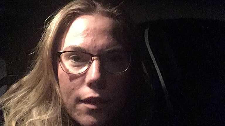 Angelica Filipsson var på väg hem när hon fastnade i den timslånga bilkön.