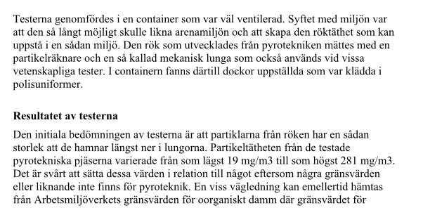 Faksimil från Totalförsvarets forskningsinstituts 'Studie av pyroteknik vid Friends Arena' från 2013.