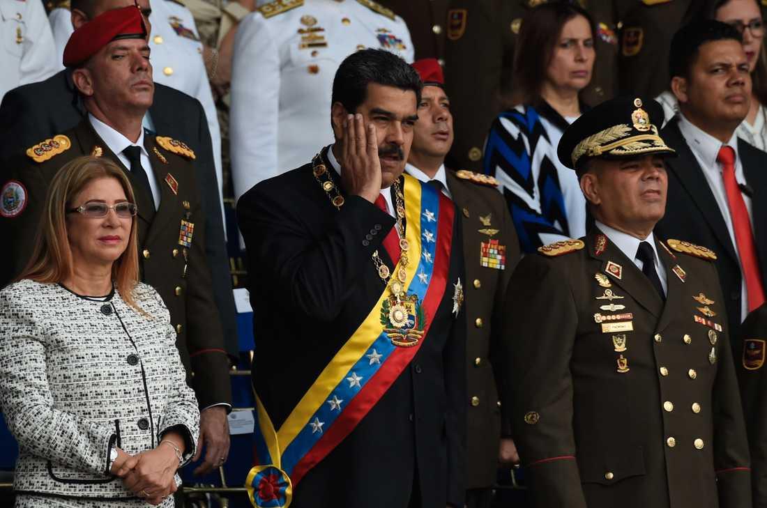 President Maduro strax innan hans tal avbröts.