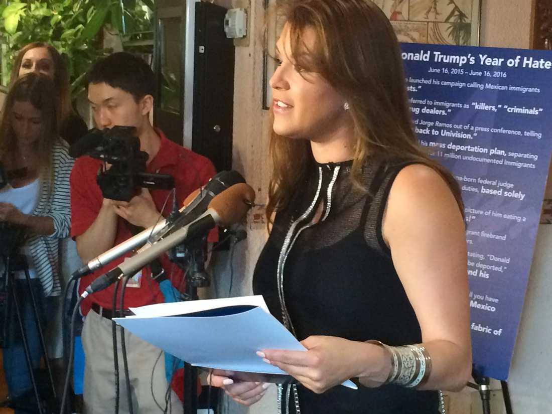 Alicia Machado när hon höll tal på en konferens i juni.