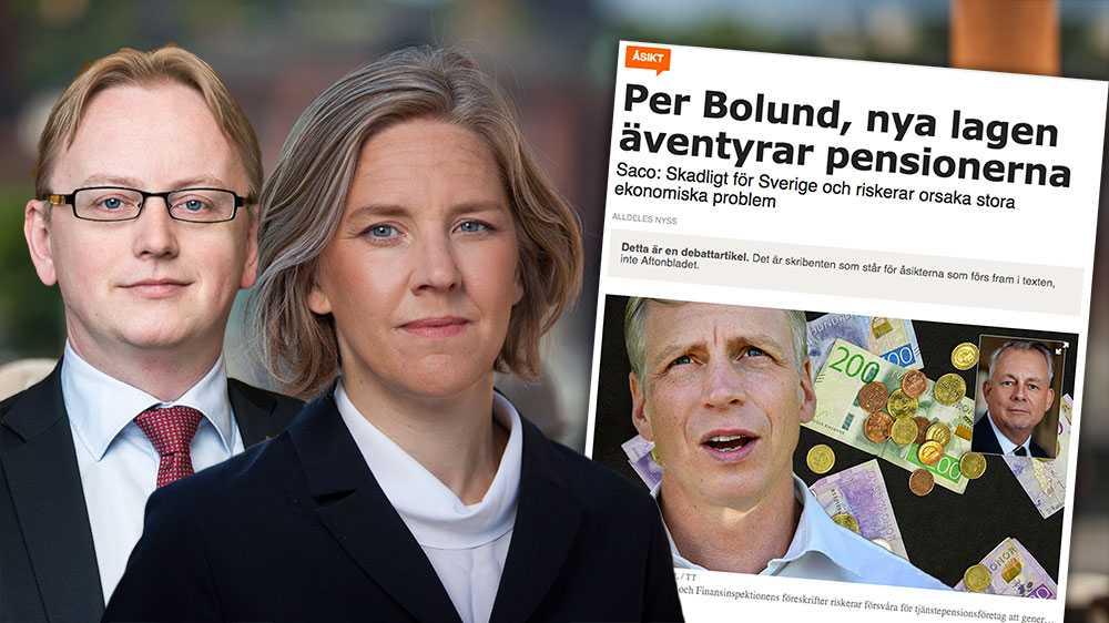 Vi hoppas kunna stilla den oro som Saco:s ordförande Göran Arrius gett uttryck för. Förslaget gällande kapitaltäckning syftar inte till att öka kapitaltäckningskravet i absoluta tal. Detta ger större möjligheter för företagen att skapa avkastning som ger goda pensioner, skriver  Fredrik Olovsson (S) och Karolina Skog (MP).
