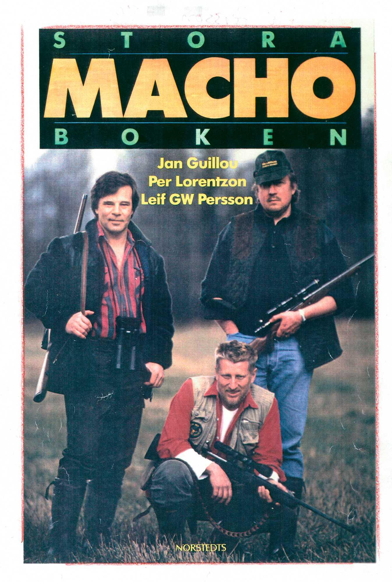 """""""Stora machoboken"""" från 1991, tillsammans med Jan Guillou och Pär Lorentzon."""