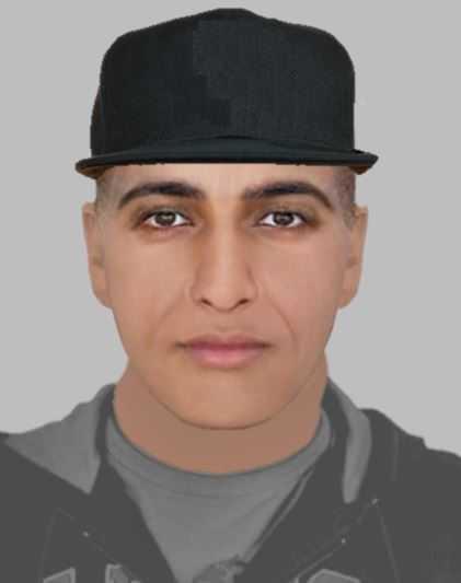 Polisens fantombild av misstänkte våldtäktsmannen.
