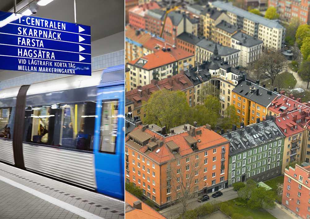 Stor skillnad i bostadspriset mellan olika tunnelbanestationer.