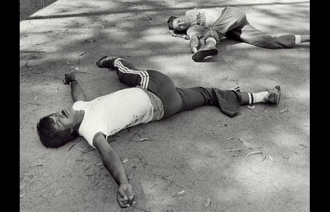 Ett träningspass med tränaren Leo Davis 1982.
