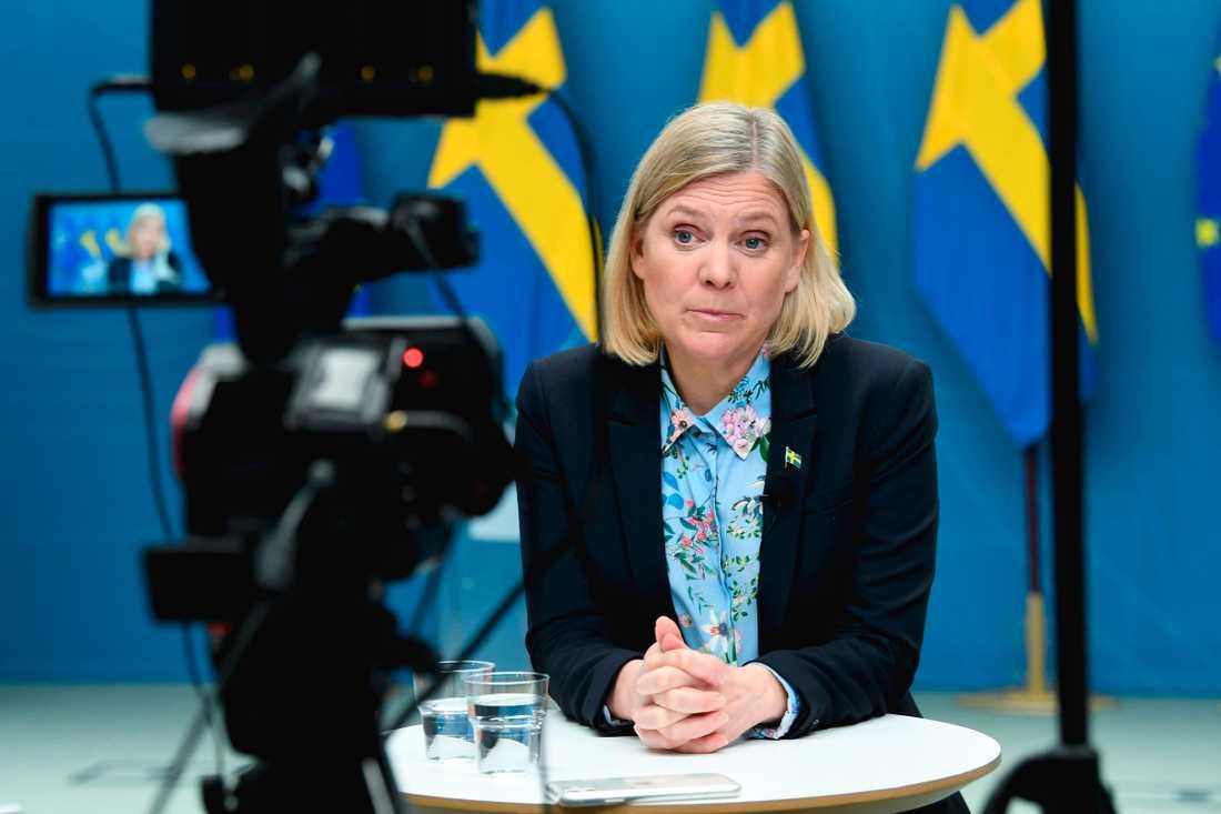 """Magdalena Andersson presenterar en budget som kan kallas """"integration, integration och integration""""."""