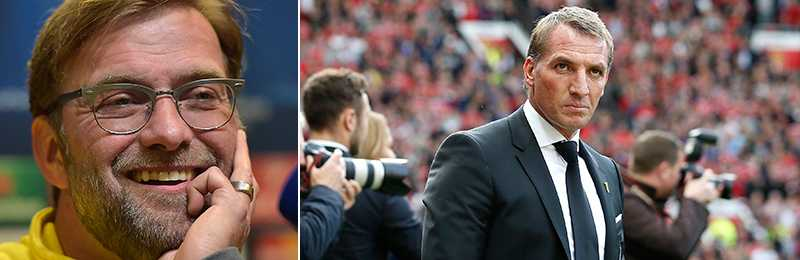 Jürgen Klopp (t.v.) tar över om Brendan Rodgers (t.h.) får sparken i Liverpool, visar oddsen.